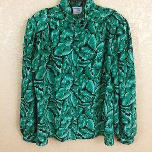 Vintage High Neck Leaf Print Button Top Blouse E65